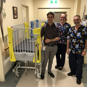 Staff with new Favero Embrace Plus Hospital Cot